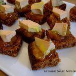 Recette de foie gras : canapé de foie gras au pain d'épices sur lit de confit d'oignon