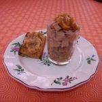 Verrine de foie gras sur compotée de poire oignons épicée